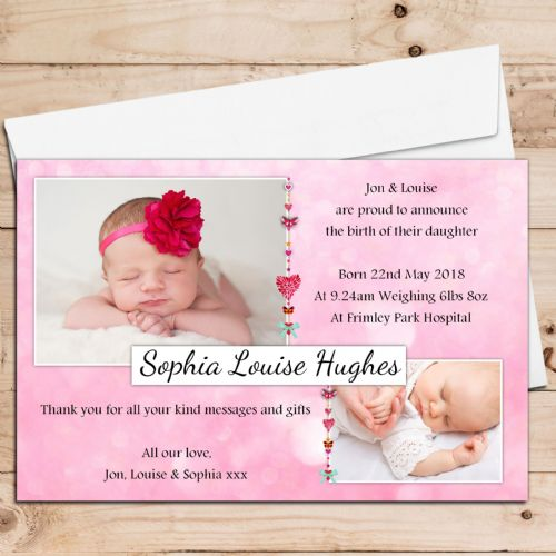 10 Personalised Baby Girl Birth Announcement Thank You Cards N20